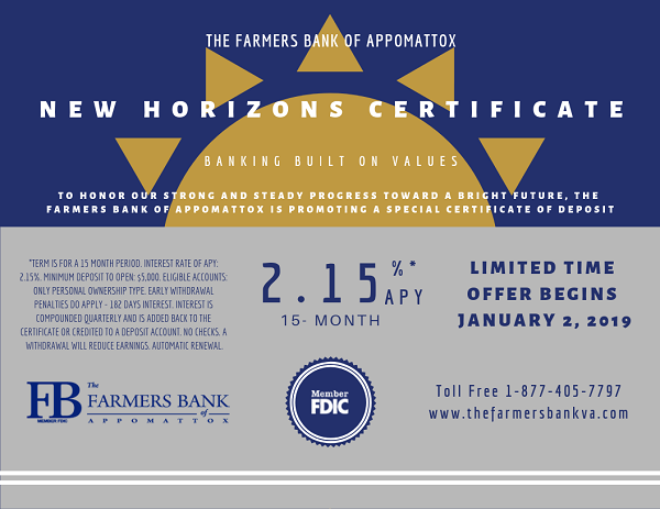 New Horizons CD, See Relationship Banker for Details